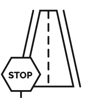 Icon of a two-lane road with a stop sign